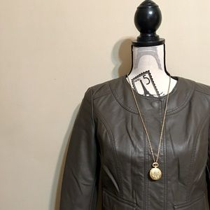 Anthropologie Gray Vegan Leather Bomber Jacket